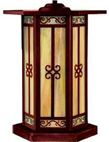 Arroyo Craftsman LIC-11-GW-RC Lily Collection 1-Light Column Mount, Raw Copper Finish with Gold White Iridescent Glass