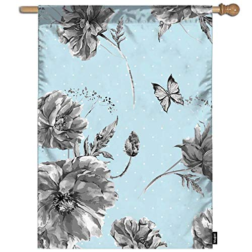- Mugod Cornflowers Garden Flag Poppies Daisies Wildflowers with Ladybird and Butterflies on Blue Decorative Spring Summer Outdoor House Flag for Garden Yard Lawn 28 x 40 Inch