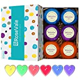 RoseVale Natural Vegan and Handmade Organic Bath Bombs Gift Set 6 Assorted Bath Bombs Including 6 Candles