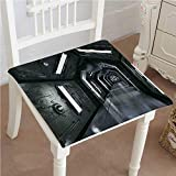 Mikihome Chair Pad Soft Seat Cushion Dark Futuristic Corridor of ceship Adventure Technology Expandable Polyethylene Stuffed Machine Washable 22''x22''x2pcs