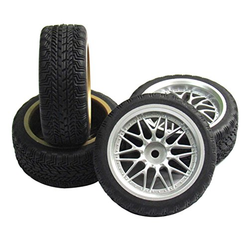 powerday 12mm Hub Wheel Rims Rubber Tires for RC 1/10 on-Road Touring Racing Car A for RC 1: 10 on-Road Racing car, Drift, Touring car (4pcs) (Car Rc Drift 1 10)