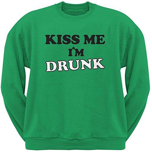 Kiss Me I'm Drunk Green Adult Crew Neck Sweatshirt - X-Large (Im Drunk Green T-shirt)