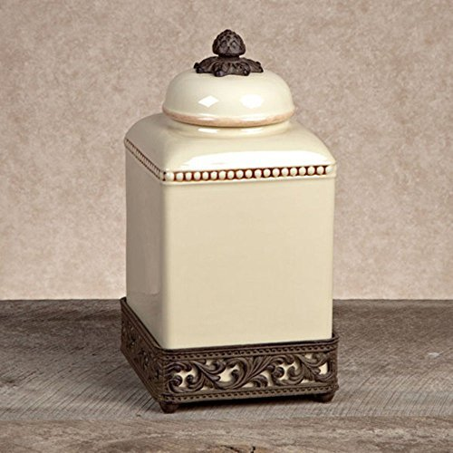GG Collection Ceramic Canister with Metal Base - Cream