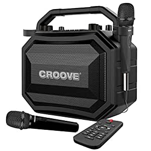 Party Box Portable Karaoke Machine with Bluetooth/AUX/ USB/SD Card Connectivity, 2 Wireless & Wired Microphones, and Advanced Audio Controls