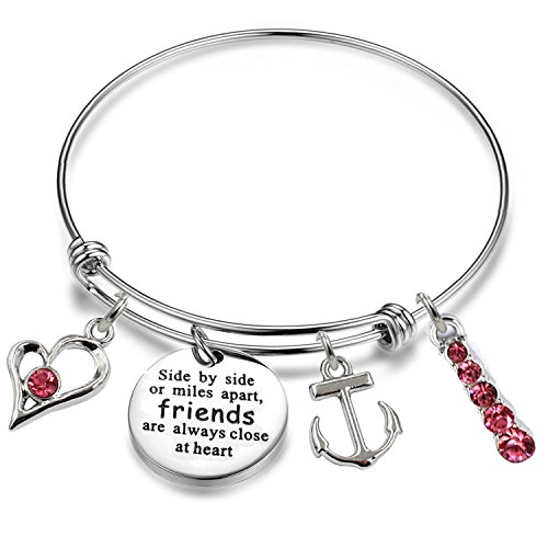 YOYONY Inspirational/Motivational/Love/Memorial/Thankful/Beauty/Praise/Religious/Friendship Meaningful Message Charm Bracelets (Side by Side or Miles Apart Friends are Always Close at Heart)