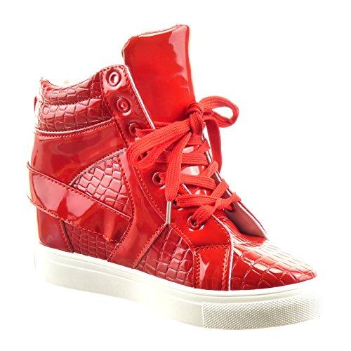 Sopily - Scarpe da Moda alti alla caviglia donna pelle di serpente fibbia verniciato Tacco zeppa piattaforma 7 CM - Rosso