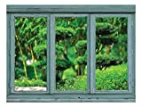wall26 Vintage Teal Window Looking Out Into a Japanese Garden with Sculpted Trees – Wall Mural, Removable Sticker, Home Decor – 36×48 inches