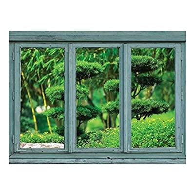 Premium Product, Incredible Artisanship, Vintage Teal Window Looking Out Into a Japanese Garden with Sculpted Trees Wall Mural