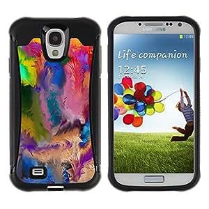 Suave TPU Caso Carcasa de Caucho Funda para Samsung Galaxy S4 I9500 / Swirl Colorful Pattern Blue Oil Paint / STRONG