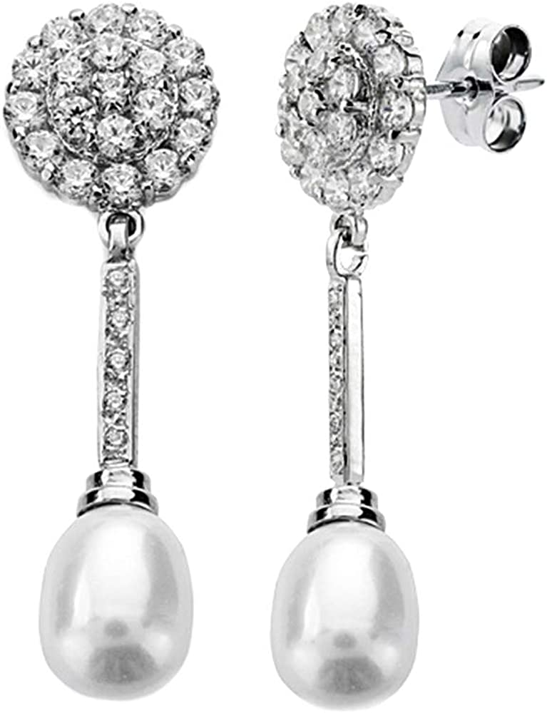 Pendientes oro blanco 18k largos perla 12mm. [AA1962]