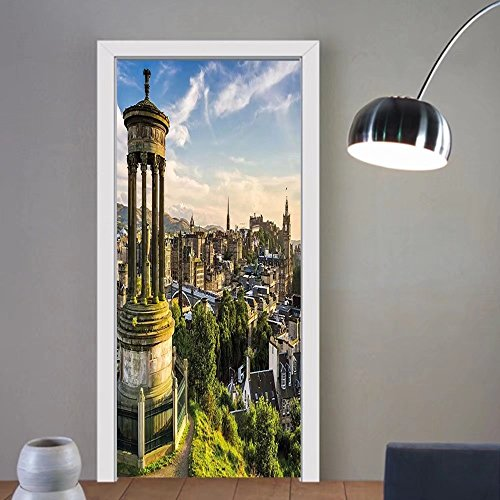 Gzhihine custom made 3d door stickers Cityscape Edinburgh Town Aerial View of Historical Buildings Heritage Panorama Art Fern Green Blue Tan For Room Decor - Edinburgh Hours Outlet
