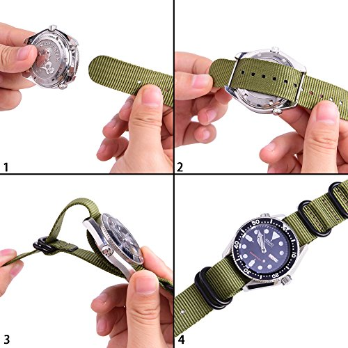 Ritche CHARLOTTE017  Nato Strap with Heavy Buckle Replacement Timex Weekender Watch Band, 20 mm, Army Green / Black Photo #6