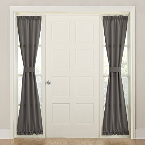 Sun Zero Energy Front Door Sidelight Curtain Panel with Tie Back, 26″ x 72″, Steel Gray