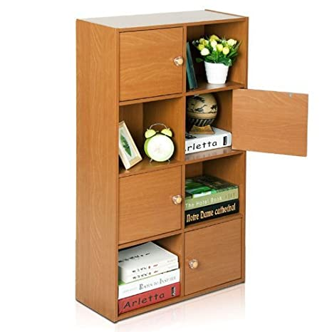 Furinno 11189LC Pasir 3-Tier Shelf with 3 Door/Round Handle, Light Cherry