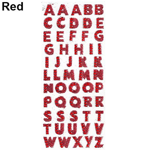 Baost 1 Sheet Self-adhesive Glitter Alphabet Letter Rhinestone Stickers A-Z Words Decorative Scrapbook Stickers Embellishments for Kid Craft, Greeting Cards, Photo Album Red ()