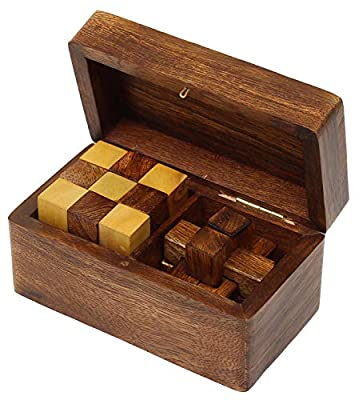SKAVIJ Puzzles Wooden Brain Teaser Games Burr Puzzle and Snake Cube 2-in-1 Puzzle Gift Set Handmade Toy Educational Puzzles Gifts for Kids & Adults