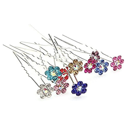Beautiful Bead 10 pcs/Lot Crystal Bridal Party Wedding Decorative Hair Pins for Girls Long Hair Buns Mixed Color
