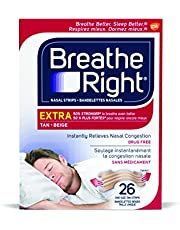 Breathe Right Nasal Strips Extra Tan, Drug-Free, Instant Nasal Congestion Relief, Snoring Solution, Oily and Normal Skin, 3M Adhesive, Breathe Better, Sleep Better, Strong Hold