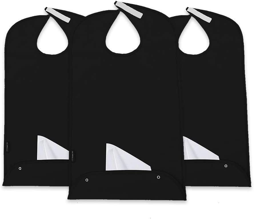 Classy Pal Adult Bibs for Men & Women, Clothing Protectors for Eating, Senior Adult Bib Terry Cloth Crumb Catcher, Waterproof, Reusable, Washable (Black x 3pk)