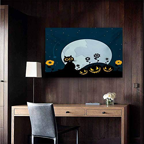 duommhome Halloween Simulation Oil Painting Cute Cat and Lanterns Moon on Floral Field with Starry Night Sky Star Cartoon Art Decorative Painted Sofa Background Wall 35