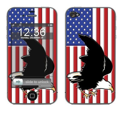 System Skins American Flag 2 Skin Decal for Apple iPhone 4 & 4S
