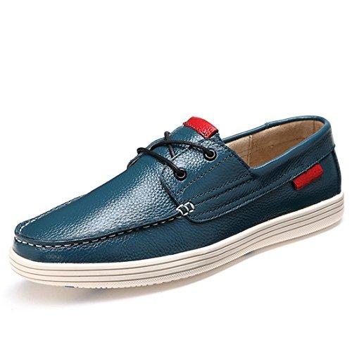 Mens Classic Lace Up Boat Shoe Scarpe Da Guida Causali A Due Occhi In Pelle Bovina 2b031 Blu Scuro