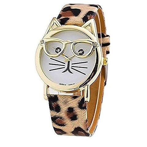 New Fashion Glasses Cat Watch Leather Strap Geneva Watch Women Wristwatch Dress Watches Quartz (Brown Leather Geneva Watch)