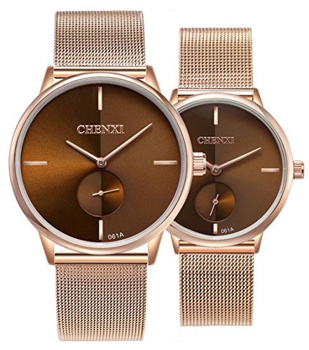 Couple Watch - Swiss Brand Couple Watch Men Women Stainless Steel Rose Gold Mesh Strap Waterproof Watches Gift of 2 (Brown)