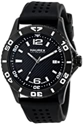 Haurex Italy Men's 3N500USN Factor Black Ion-Plated Coated Stainless Steel Rotating Bezel Date Watch