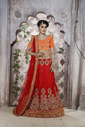 Da Facioun Net Fabric Red Pretty Lehenga Style With Embroidery Work Dupatta 79582