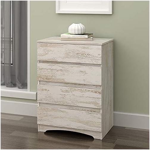 WLIVE 4 Drawer Dresser, Chest of Drawers, Wood Storage Organizer Unit for Bedroom, Gray Oak