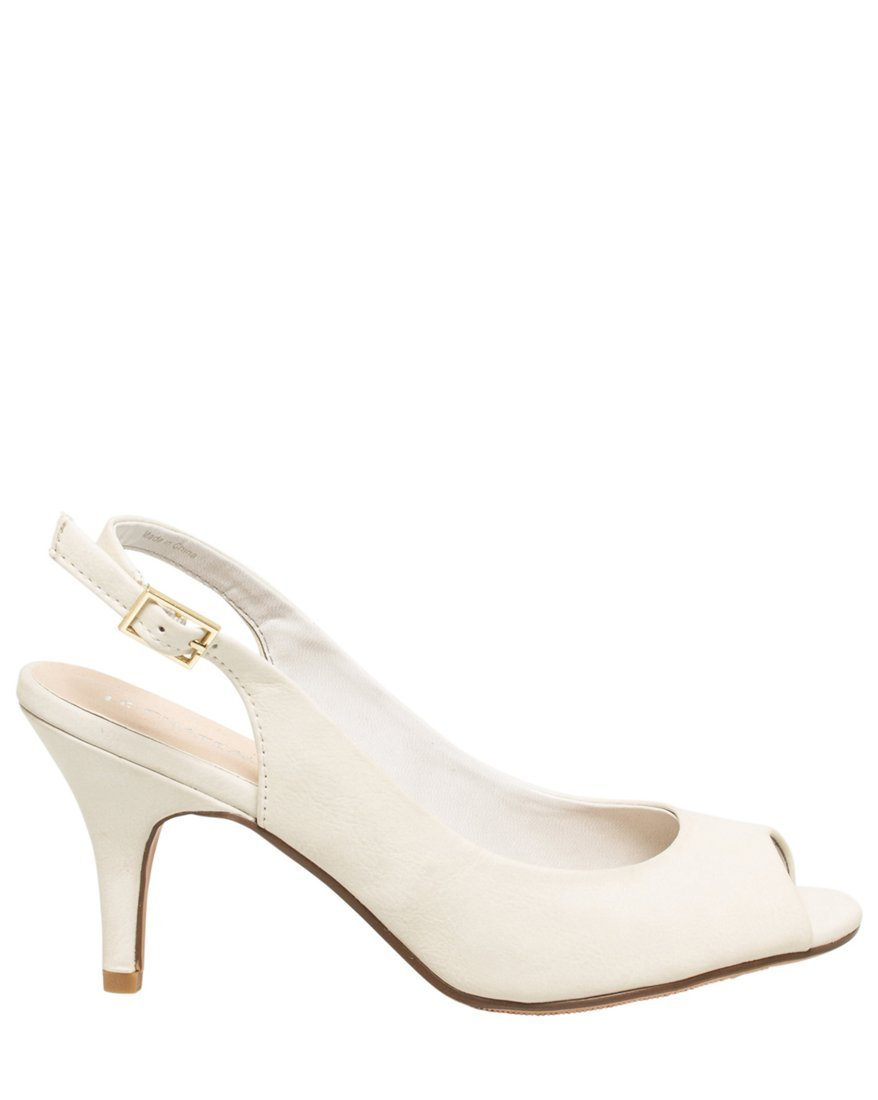 LE CHÂTEAU Women's Leather-Like Slingback Peep Toe Sandal,7,Off White by LE CHÂTEAU (Image #1)