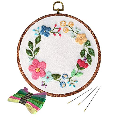 Full Range of Embroidery Starter Kit with Pattern, Kissbuty Cross Stitch Kit Including Embroidery Cloth with Floral Pattern, Imitation Wood Embroidery Hoop, Color Threads and Tools Kit (Flower Hoop) ()