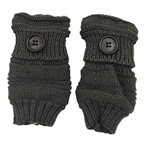 Glove Fingerless for Men Women Winter Warm Thumb Holes Gloves Mitten Solid Color (Dark gray) by YQWEL (Image #1)