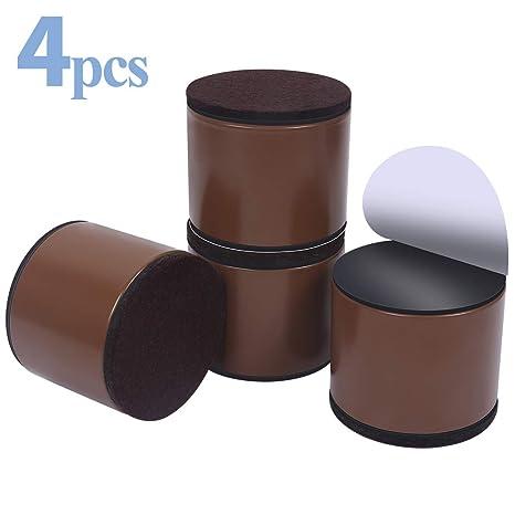 Elevadores de muebles de 5 cm, elevadores de cama de acero al carbono, Ezprotekt de diámetro de 2.5 pulgadas, autoadhesivos, resistentes, añade 2 ...