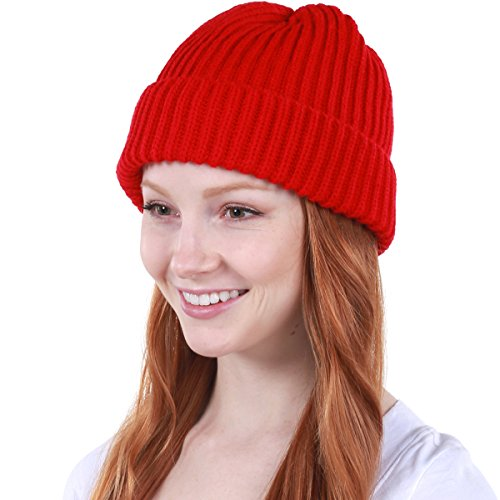 (KBW-507 RED Ribbed Beanie Thick Cuffed Ski Hat Skully Winter Cap )