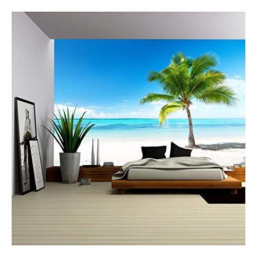 wall26 - Palm and Beach - Removable Wall Mural | Self-Adhesive Large Wallpaper - 100x144 inches (Mural Beach)