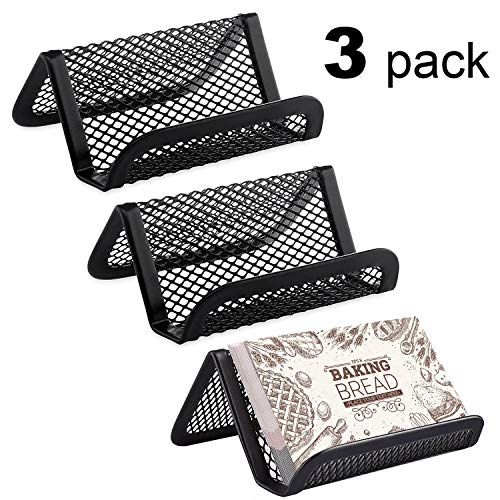 Easepres 3-Pack Metal Mesh Business Card Holder for Desk Office Business Card Holders Mesh Collection Organizer for Name Card, Capacity 50 Cards, Black Mesh Business Card Display