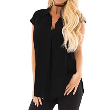 443c1c333780e ... Fashion Summer New Women Lady Daily Chiffon Plus Size Casual Sleeveless  V-Neck Pleated Ruffled Loose Chiffon Tank Top Hot Sell  Amazon.co.uk   Clothing