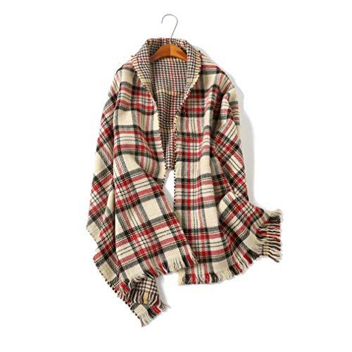 - Tartan Plaid Blanket Scarfs For Women Winter Checked Shawls And Wraps (Beige Plaid)