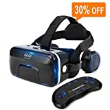 VR Headset with Remote Controller Immersive 3D VR Glasses Virtual Reality Headsetwith Stereo Headphone and Adjustable Headstrap for 3D Movies & VR Games, Fit for 4.7-6.0 inch IOS/Android Smartphone
