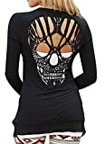 Ladies Solid Long Sleeve Skull Cardigan Black M