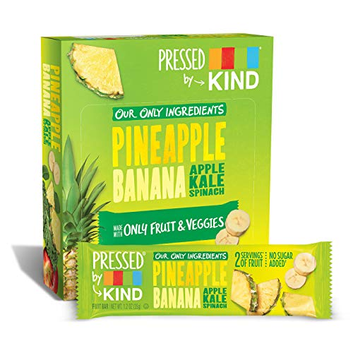 Pressed by KIND Fruit Bars, Pineapple Banana Kale Spinach, No Sugar Added, Non GMO, Gluten Free, 1.2oz, 12 Count