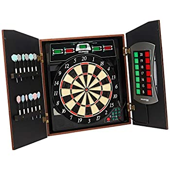 Image of Dartboards Bullshooter Cricket Maxx 5.0 Electronic Dartboard Cabinet Set Includes 6 Steel Tips, 6 Soft Tips, Extra Tips, and AC Adapter
