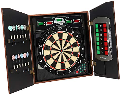 Bullshooter Cricket Maxx 5.0 Electronic Dartboard Cabinet Set Includes 6 Steel Tips, 6 Soft Tips, Extra Tips, and AC Adapter Arachnid Cricket Electronic Dartboard