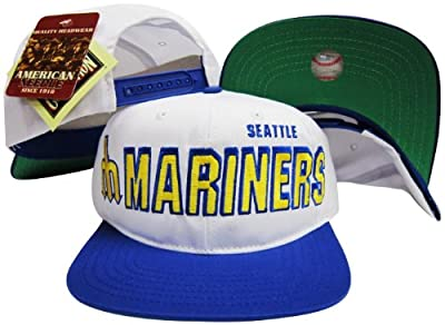 American Needle Seattle Mariners Two Tone Plastic Snapback Adjustable Plastic Snap Back Hat/Cap