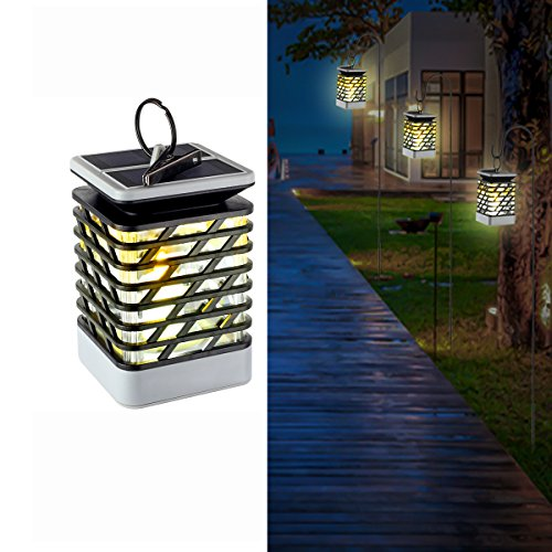 Lantern, Solar Lights Outdoor Flickering Flame Effect Decorative Lamp for Garden Tree Yard Lawn Party, Waterproof Auto On Off (Vintage Button Wire)