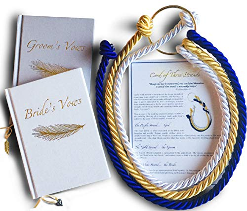 Wedding Ceremony Gift Collection Set of Cord of Three Strands with Ceremony Card & Elegant Wedding Vows Books for Bride and Groom; Wedding Cord, Wedding Knot