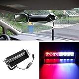 Automotive : 8 LED Car Truck Police Strobe Flash Light Dash Warning Emergency LED 12V 3 Flashing Mode Red/Blue