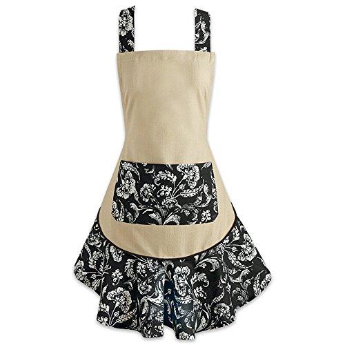 DII, Ruffle Kitchen Apron, Ladies Adjustable, 26x28.5, Floral Black